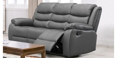Lazy-B 3 Seater Recliner Grey