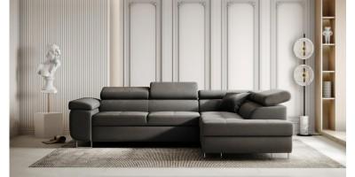 Sorrento Corner Sofa Bed - Grey Plush Velvet RHC
