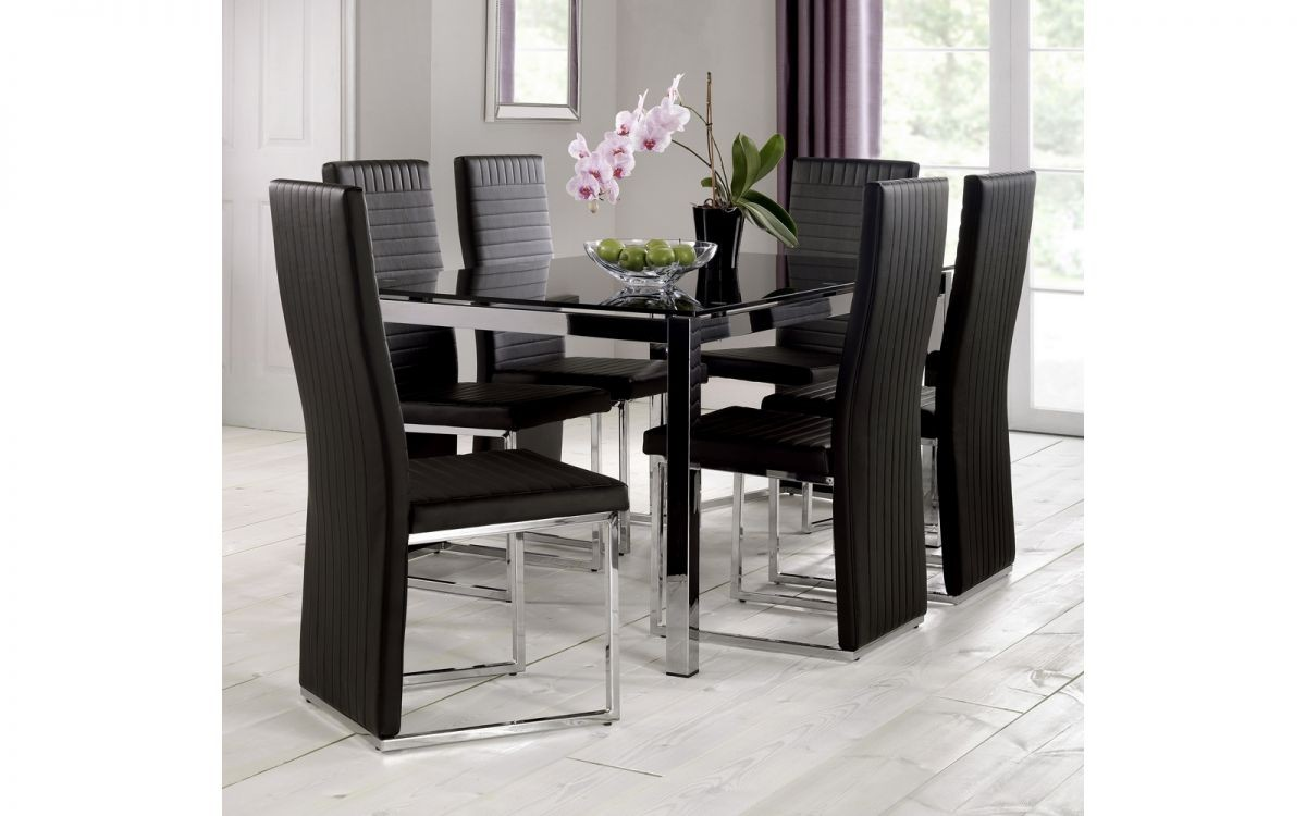 Tempo Black Glass Dining Table 6, Black Dining Table Chairs Set Of 6