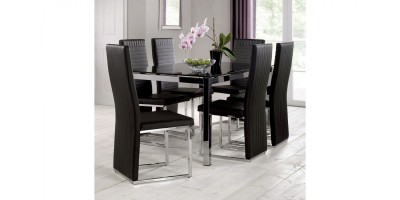 Tempo Black Glass Dining Table + 6 Roma Fabric Cantilever Chairs Set