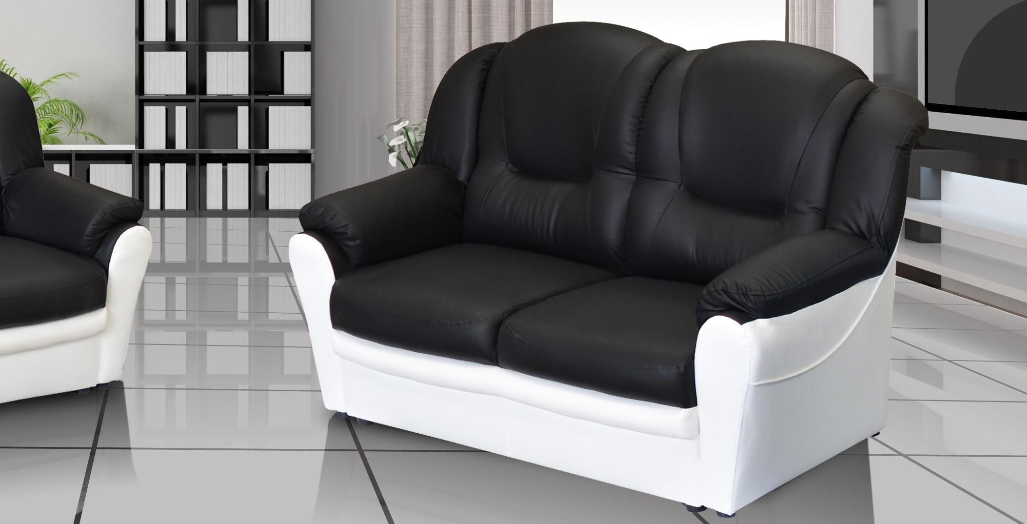 Arizona 2 Seater Sofa Black and White PU