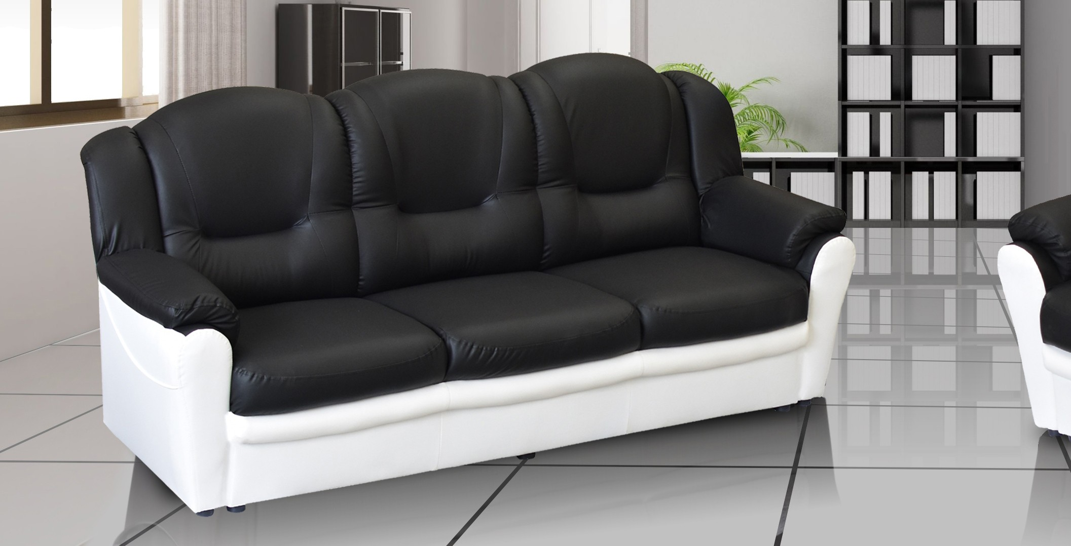 Arizona 3 Seater Sofa Black and White PU