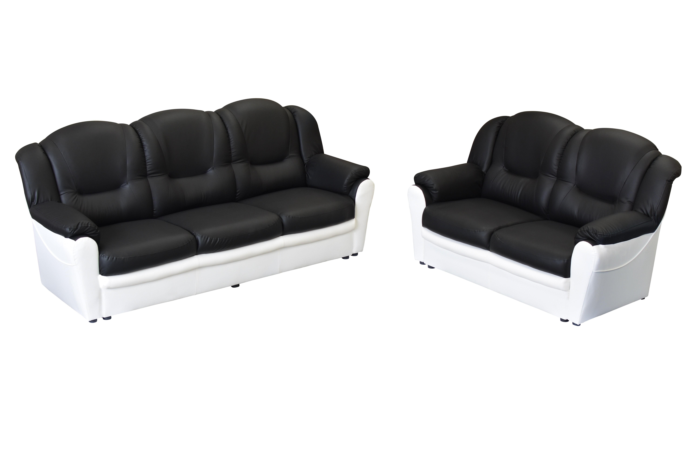 Arizona 3+2 Seater Sofa Black and White PU