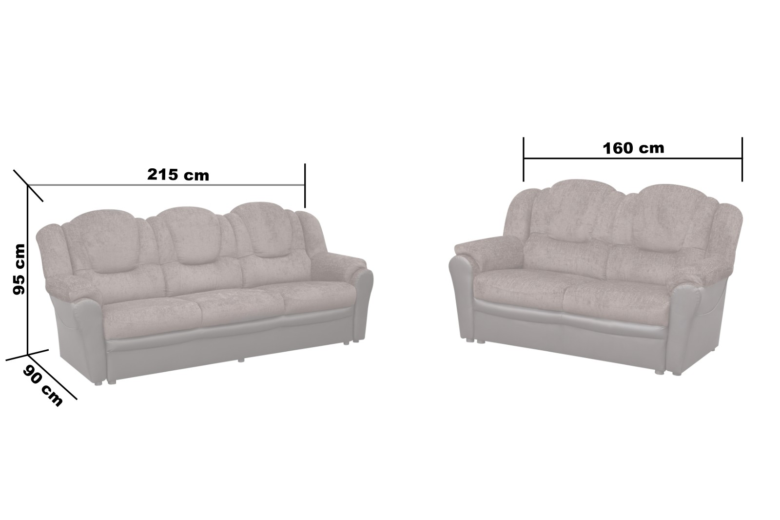 Arizona Fabric 3+2 Seater Sofa Black and Grey