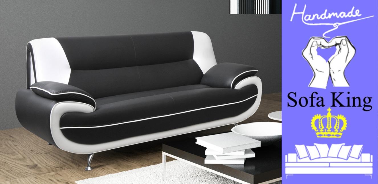 Bari 3 Seater Black White Sofa